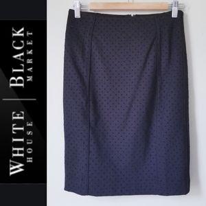 WHBM Flocked Dot Pencil Skirt